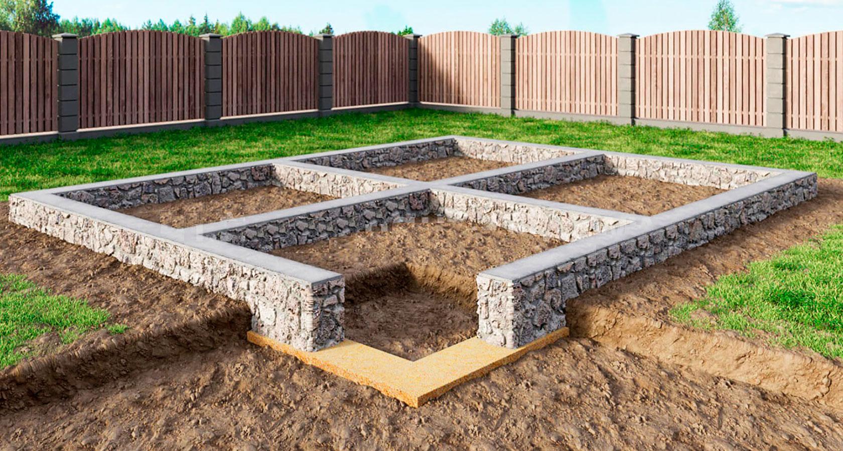 Фундаментные работы, монтаж блоков ФСБ, заливка плиты фундамента